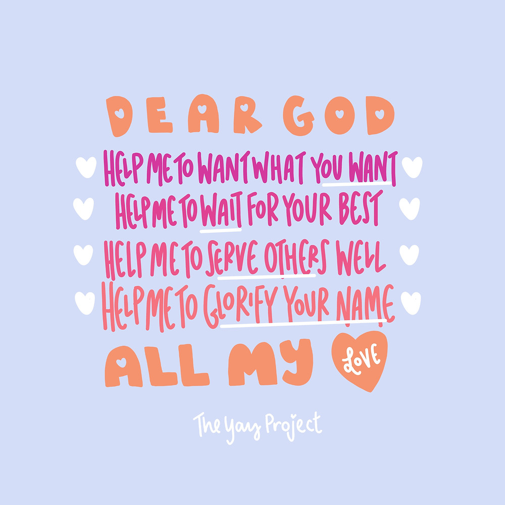 Dear God Christian art graphic by The Yay Project Jenni Lien