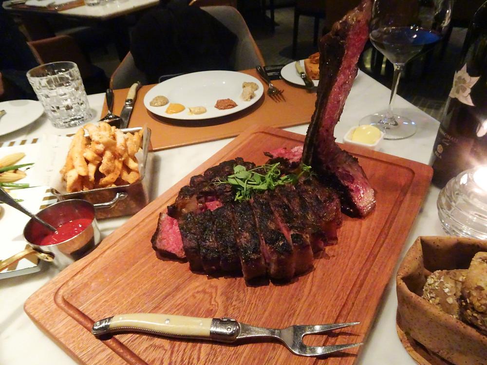 Food at Porterhouse steakhouse restaurant in Hong Kong