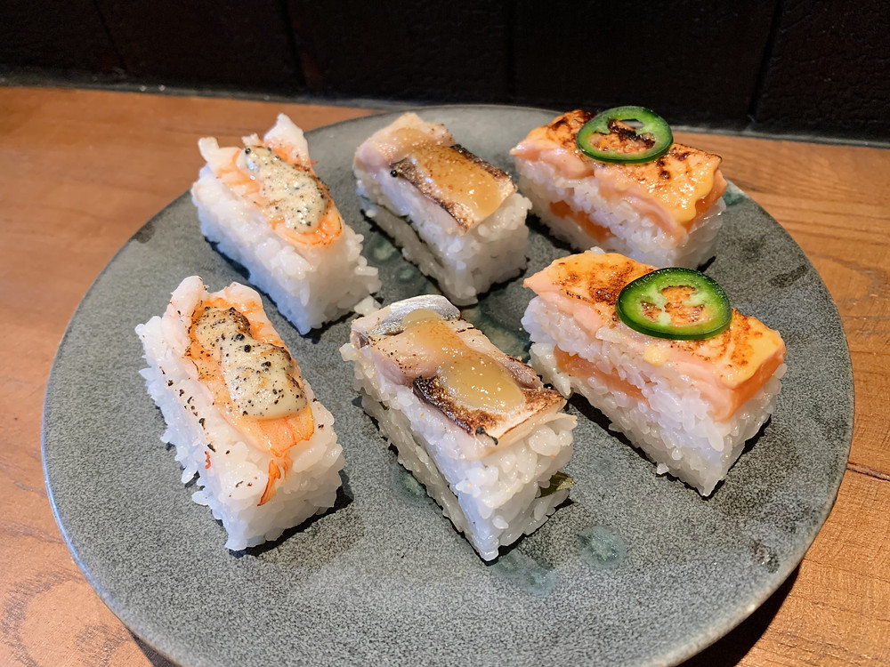 Aburi sushi at Chako restaurant in Hong Kong