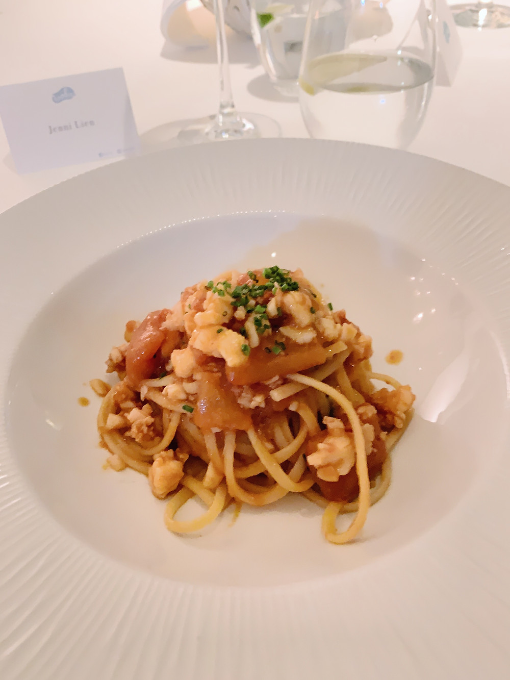 Food at Isola Italian restaurant in Hong Kong