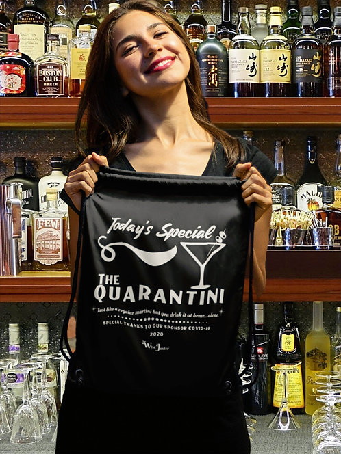 Today's Special - The Quarantini - woman holding black drawstring back with zipper pocket