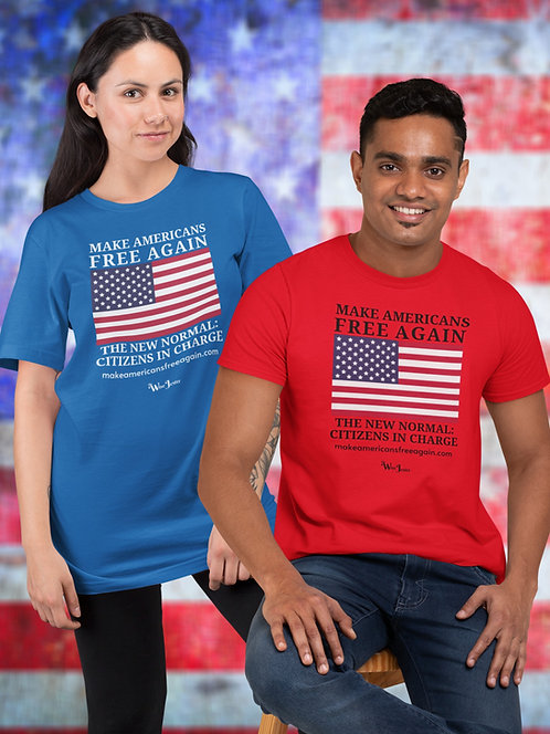Make Americans Free Again. New Normal: Citizens In Charge. Royal blue and red unisex short sleeve crew neck t-shirt