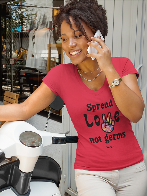 Spread Love Not Germs. Red women's short sleeve v-neck t-shirt