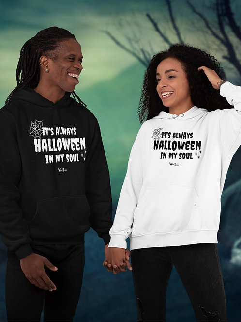 It's always Halloween in my soul.  Black and white unisex long sleeve pullover hoodie with kangaroo pouch pockets
