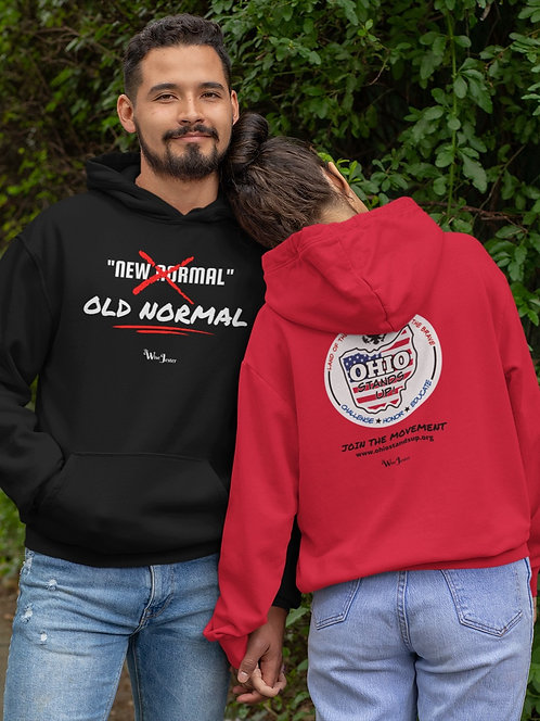 Ohio Stands Up!   No New Normal - Black and red unisex long sleeve pullover hoodie kangaroo pouch pockets