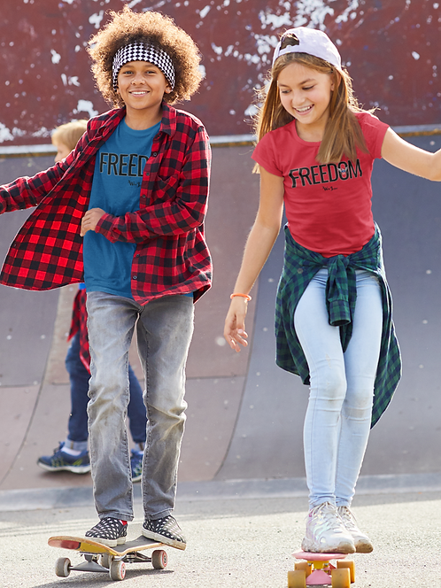 Liberty. Constitution. Freedom over tyranny. COVID. Youth patriot. Kids freedom. Red unisex youth short sleeve crew neck tee