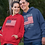 Make Americans Free Again. New Normal: Citizens In Charge. Red unisex long sleeve pullover hoodie with kangaroo pouch pockets