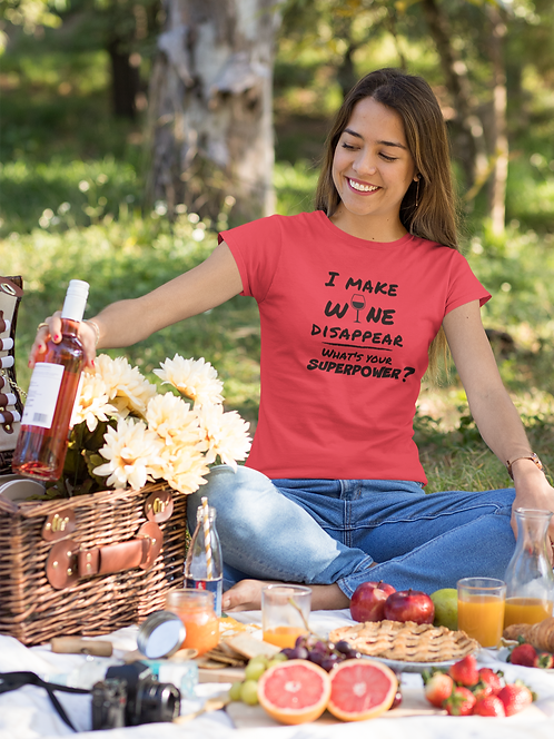 I make wine disappear what's your superpower? Solid red women's short sleeve crew neck t-shirt