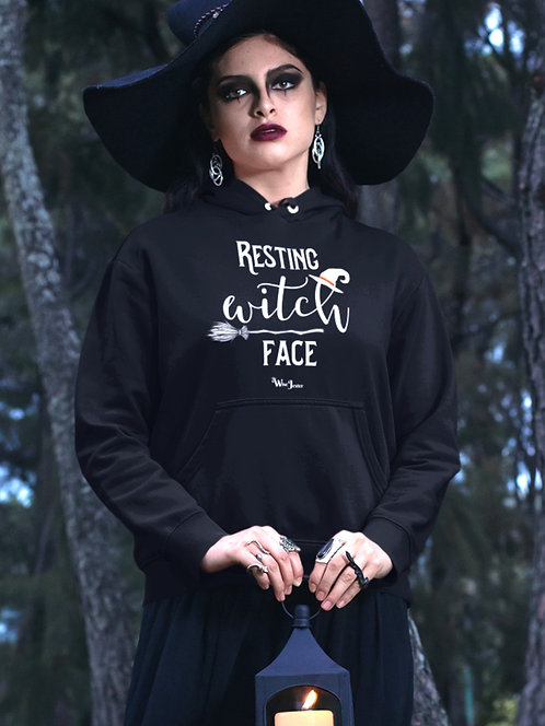 Resting Witch Face. Black unisex long sleeve pullover hoodie with kangaroo pouch pockets
