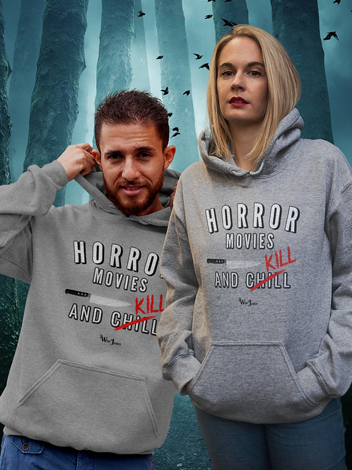Horror Movies And Chill (X Kill). Sport light grey unisex long sleeve pullover hoodie with kangaroo pouch pocketsv