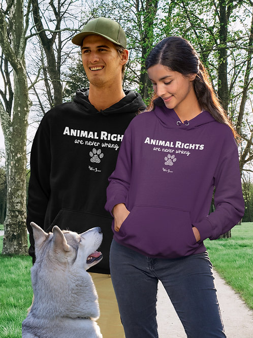 Animal rights are never wrong. Black unisex long sleeve pullover hoodie with kangaroo pouch pockets