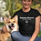 Animal Rights Are Never Wrong – Woman sitting with dog wearing solid black women's short sleeve crew neck t-shirt