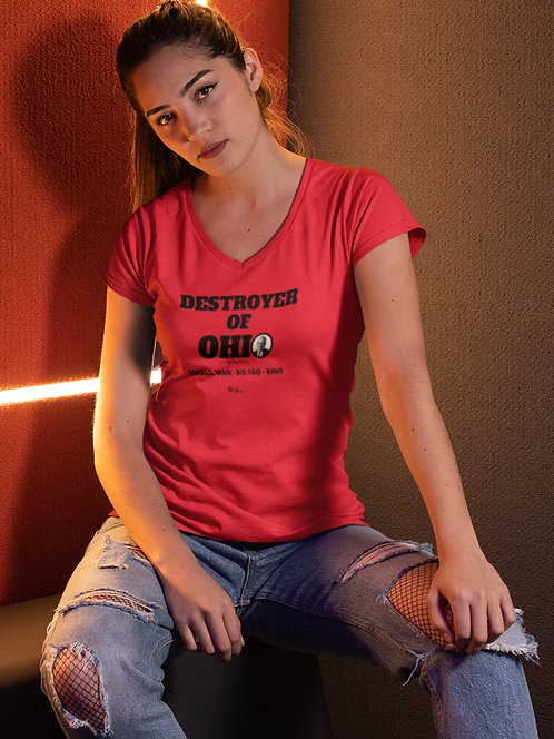 Destroyer of Ohio. Governor Mike DeWine. Small Man - Big Ego - RINO. Red women's short sleeve V-neck t-shirt