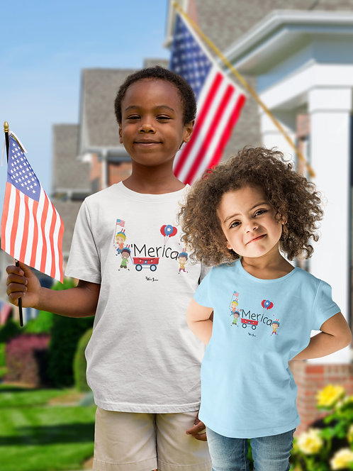 'Merica. America. 2 toddlers wearing white unisex toddler short sleeve crew neck t-shirt. Freedom. Patriotic kids. COVID19.
