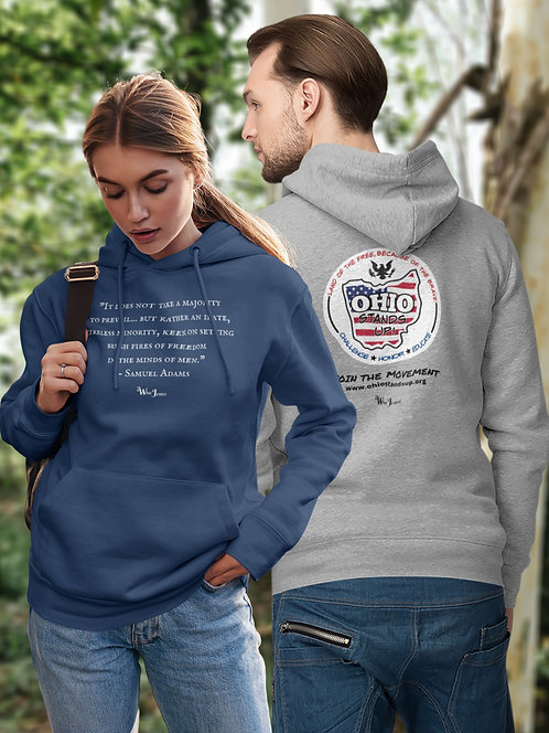 Ohio Stands Up! | It Does Not Take A Majority - Navy & grey unisex long sleeve pullover hoodie kangaroo pouch pockets