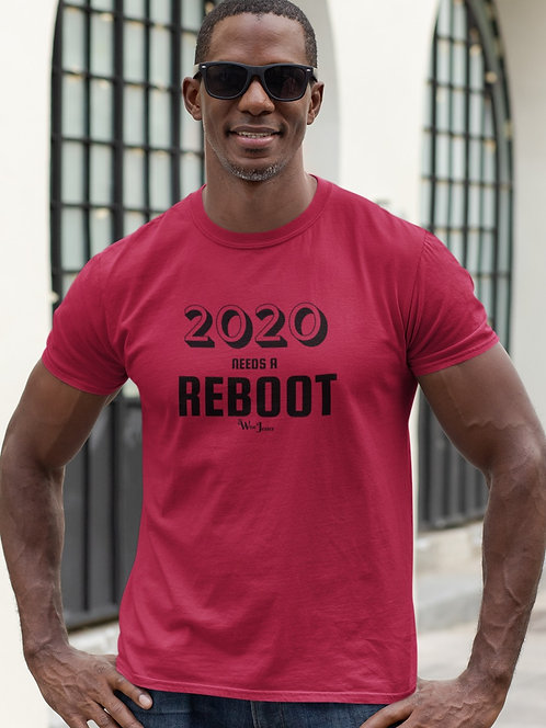 2020 needs a reboot - Red men's short sleeve crew neck t-shirt