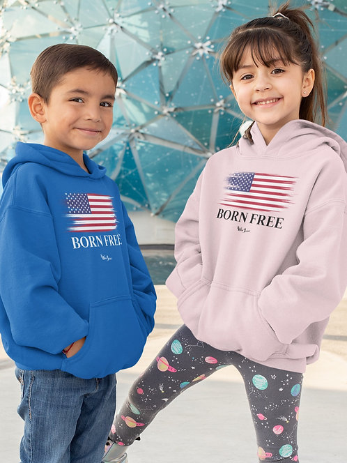 Born Free. Freedom. Liberty. Constitution. Freedom over tyranny. COVID. Youth patriot. Kids for freedom. Unisex youth hoodie.