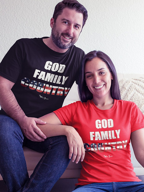 God Family County. Black and red unisex short sleeve crew neck t-shirt