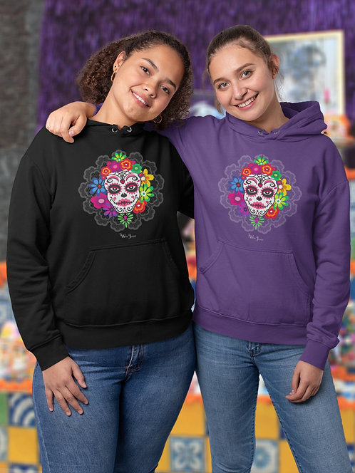 Sugar skull. Dia de los Muertos Black and purple unisex long sleeve pullover hoodie with kangaroo pouch pockets