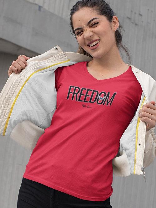 FREEDOM. Red women's short sleeve V-neck t-shirt