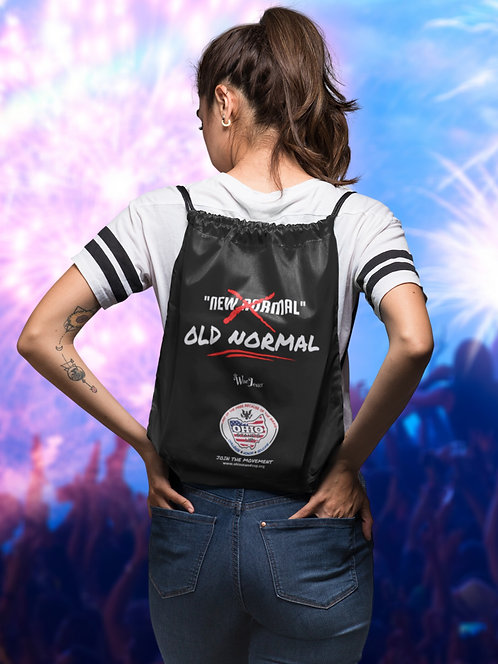 No new normal. Old normal. Ohio Stands Up! logo. Black drawstring bag with zipper pocket