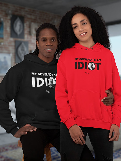 My Governor Is An Idiot. *Ohio Governor, Mike DeWine* Red unisex long sleeve pullover hoodie with kangaroo pouch pockets