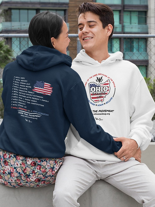 Ohio Stands Up!   Forever A Free American – White & navy blue unisex long sleeve pullover hoodie with kangaroo pouch pockets