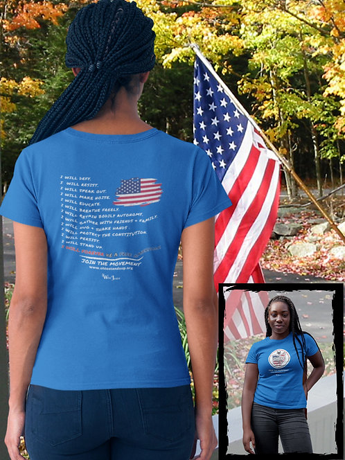 Ohio Stands Up! | Forever Be A Free American - Double Sided – True royal women's short sleeve crew neck t-shirt