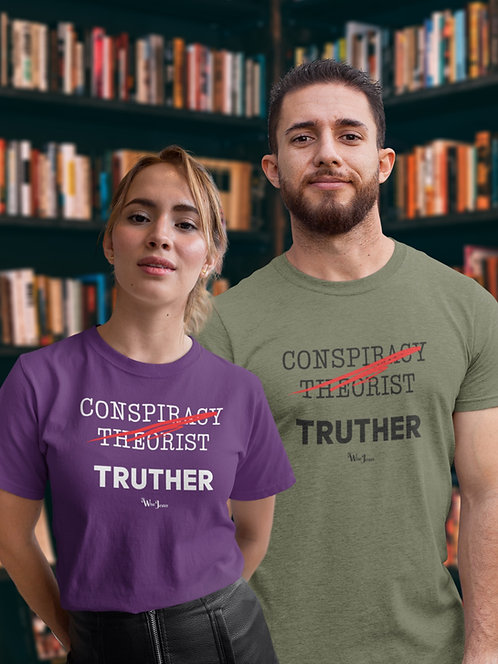 Conspiracy theorist - truther. Conspiracy theories about Covid. Conspiracy theories about disney movies. Unisex green tee