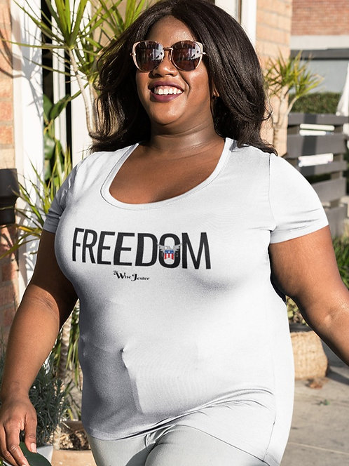 Freedom - woman in white scoop neck short sleeve curvy t-shirt