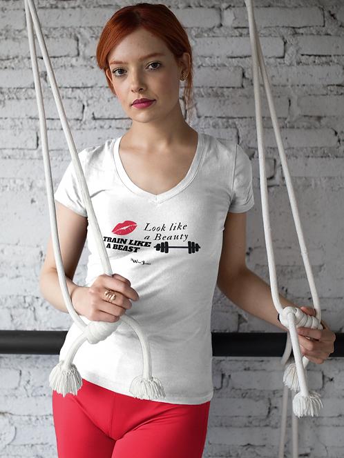 Look like a beauty, train like a beast. White women's short sleeve v-neck t-shirt