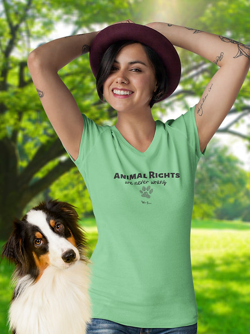 Animal Rights Are Never Wrong – Woman posing with a dog wearing a leaf green women's short sleeve v-neck t-shirt