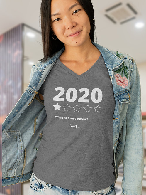 2020 (One out of five stars) Would not recommend. Dark grey heather women's short sleeve v-neck t-shirt