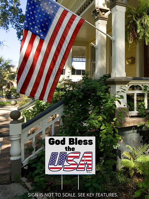 """God Bless the USA yard sign 18"""" x 24"""" Patriot yard sign. Freedom. God rules. God bless America"""