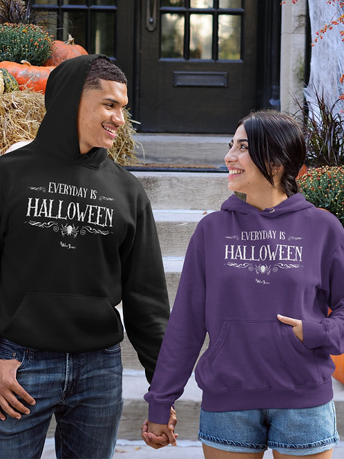 Everyday is Halloween. Black and purple unisex long sleeve pullover hoodie with kangaroo pouch pockets