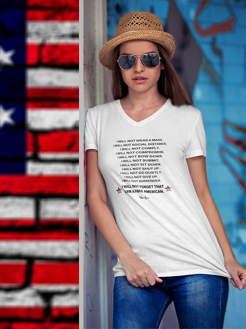 I will not forget that I am a free American. – White women's short sleeve v-neck t-shirt