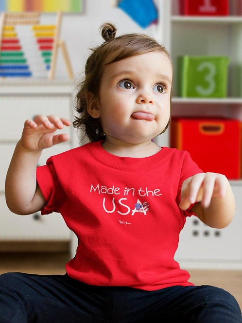 Made in the USA. Red girl unisex toddler short sleeve crew neck t-shirt. Freedom. Patriotic kids. COVID19.