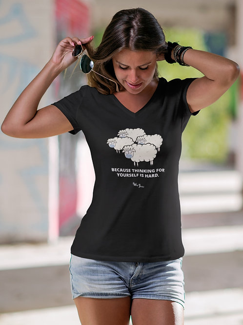 Because thinking for yourself is hard (photo of sheep wearing masks). Black women's short sleeve v-neck t-shirt
