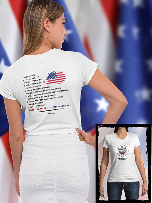 Ohio Stands Up! | Forever Be A Free American - Double Sided – White women's short sleeve v-neck neck t-shirt