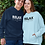 Relax. It's just allergies. Navy blue and light blue unisex long sleeve pullover hoodie with