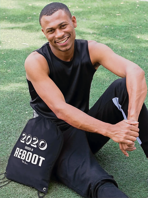 2020 Needs a Reboot - man with black drawstring bag with zipper pocket