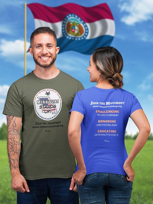Missouri Stands Up - Green unisex short sleeve crew neck t-shirt. Scamdemic. COVID fraud. Patriot shirt. Freedom shirt