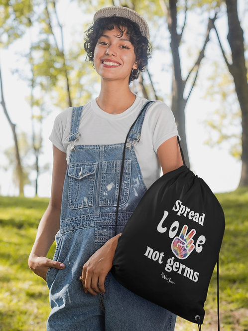 Spread love not germs - woman wearing black drawstring bag with zipper pouch