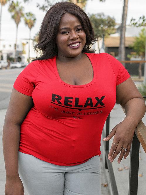 Relax. It's Just Allergies. Red women's short sleeve scoop neck curvy t-shirt