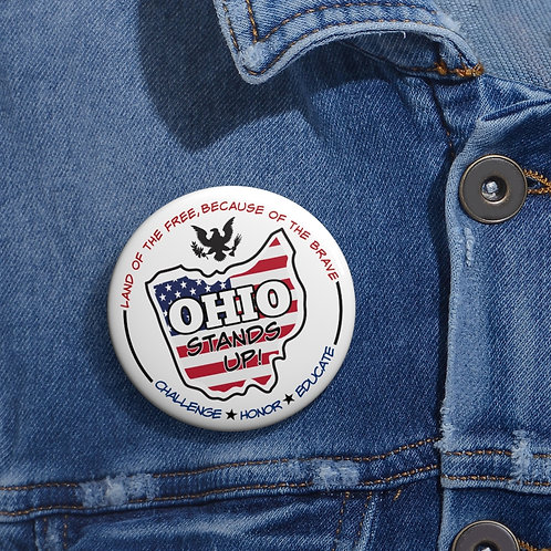 Ohio Stands Up! Logo - 2 inch round white metal button pin with steel safety pin