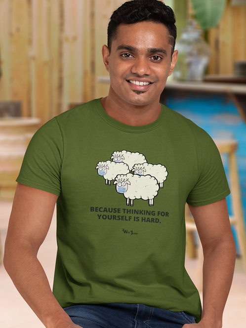 Because Thinking For Yourself Is Hard – (photo of sheep wearing masks) Olive men's short sleeve crew neck t-shirt