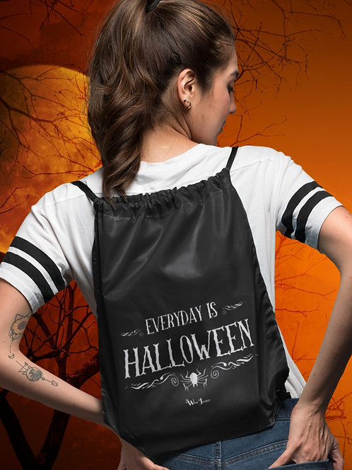 Everyday is Halloween. Black and white unisex long sleeve pullover hoodie with kangaroo pouch pockets