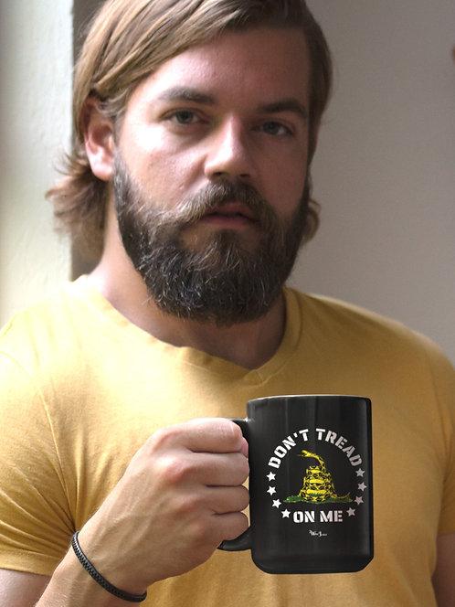Don't tread on me. 15 ounce black ceramic mug. Patriotic mug. Liberty mug. Freedom mug. COVID freedom. Constitution mug. Free