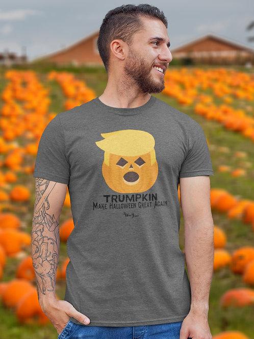 Trumpkin   Make Halloween Great Again. Dark gray heather men's short sleeve crew neck t-shirt