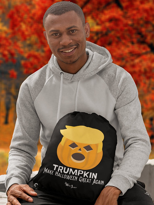 Trumpkin. Make Halloween great again. Black and white unisex long sleeve pullover hoodie with kangaroo pouch pockets